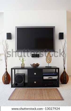 Home theater in living room. - stock photo