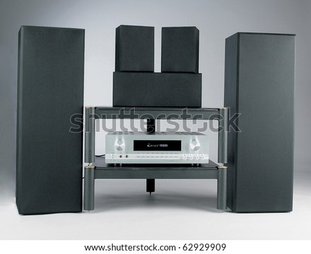 home theater isolated on plain background with clipping path - stock photo