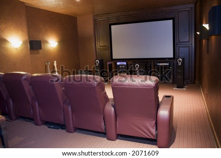 home theater room with four seats - stock photo
