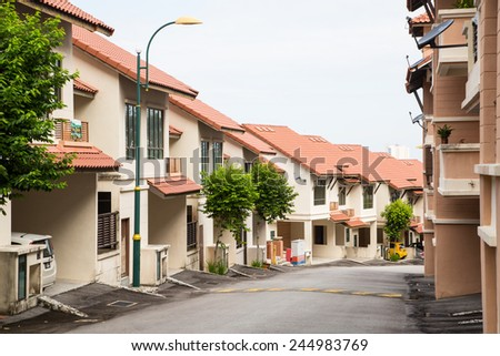 Home town on the hill - stock photo