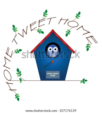 Home tweet home twig text isolated on white background - stock photo