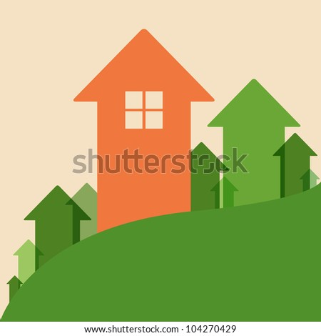 Home Value, House Values and Prices Up - stock photo