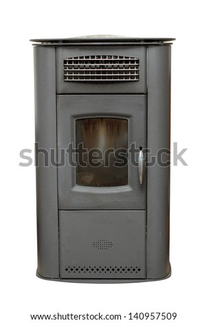 home vintage heater isolated over white background - it works with wood - stock photo