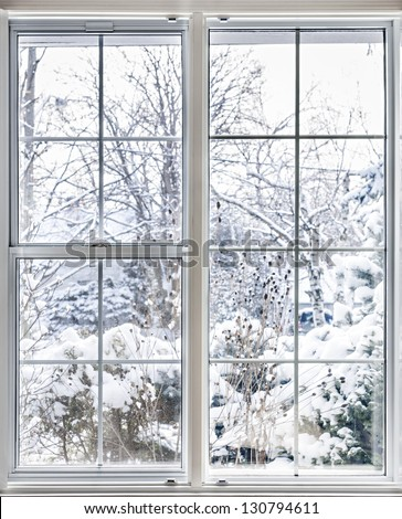Home vinyl insulated windows with winter view of snowy trees and plants - stock photo