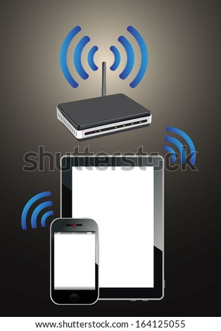 Home wifi network. Internet via router on phone and tablet pc. - stock photo