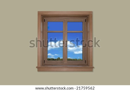 Home window against brown wall
