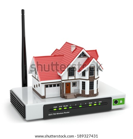 Home wireless network concept. House on wi-fi router isolated on white. 3d