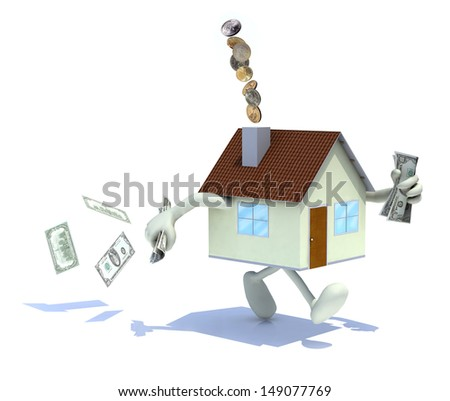 home with arms and legs, dollar banknotes at hand and out of the chimney, 3d illustration