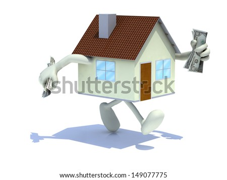 home with arms and legs, dollar banknotes at hand, 3d illustration - stock photo