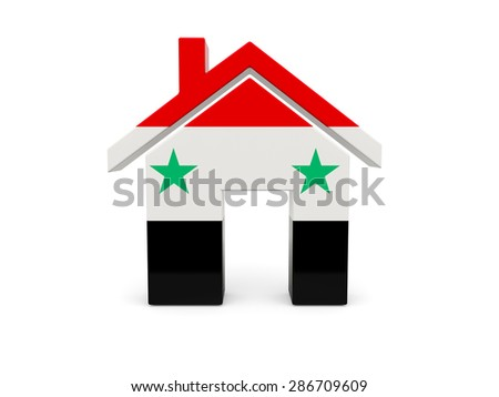 Home with flag of syria isolated on white - stock photo