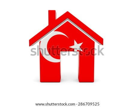 Home with flag of turkey isolated on white - stock photo