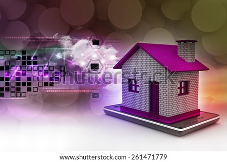 home with smart phone - stock photo