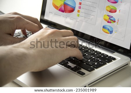 home work concept: man using a laptop with financial software on the screen - stock photo
