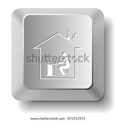Home work. Raster computer key. - stock photo