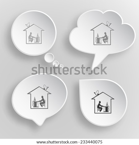 Home work. White flat raster buttons on gray background. - stock photo