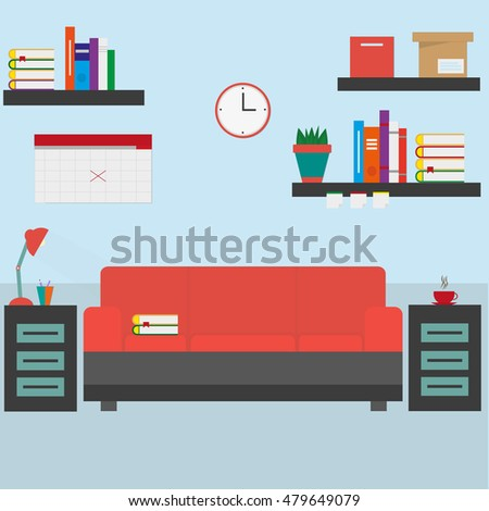Home Workplace Flat Design Business Concept Objects Elements Equipment Room Interior