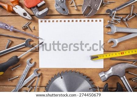 Home, workshop, manual. - stock photo
