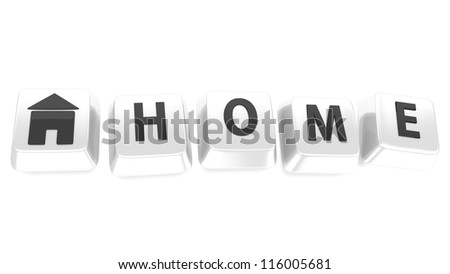HOME written in black on white computer keys with a house icon. 3d illustration. Isolated background. - stock photo