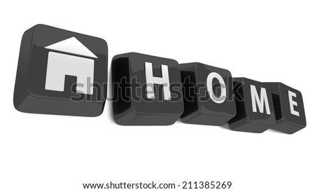 HOME written in white on black computer keys with a house icon. 3d illustration. Isolated background. - stock photo