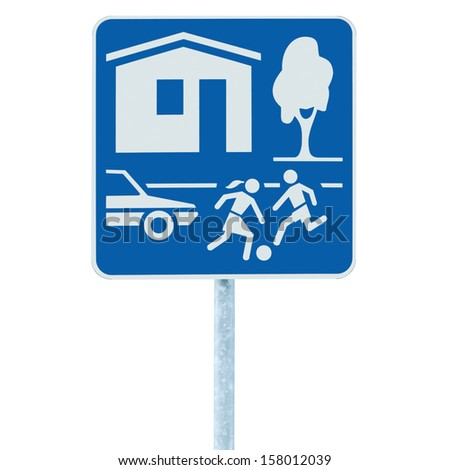 Home Zone Entry Road Sign, isolated residential area traffic roadsign in blue, warning alert prohibition danger slow speed yield - stock photo