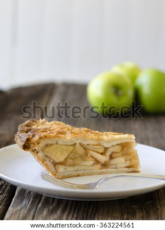 homebaked apple pie slice with apples in the background - stock photo