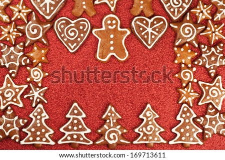 Homebaked Christmas Gingerbread Cookies border - stock photo