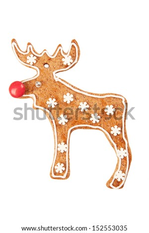 Homebaked gingerbread cookie Reindeer - stock photo