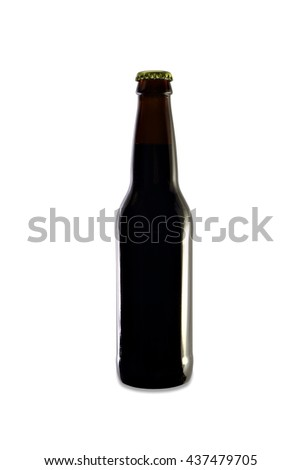 Homebrew Beer in an Amber Bottle - stock photo