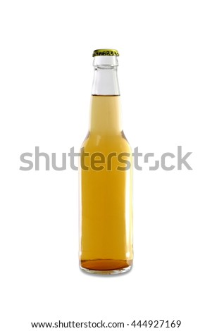 Homebrew in a Clear Bottle, Light Colored Beer - stock photo