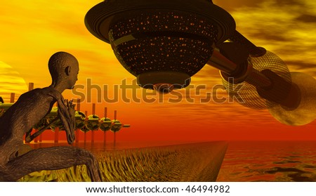Homecoming Spaceship with Alien Watcher - a 3D rendered science fiction themed illustration