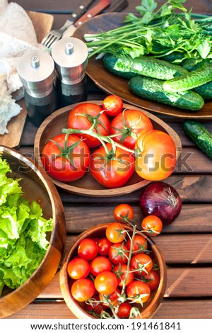 Homegrown fresh vegetables in wooden dishware for spring picnic. Outdoors still-life. - stock photo