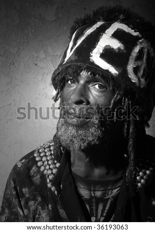 Homeless African American Man Who is Famous for Living on the Venice Beach Boardwalk - stock photo