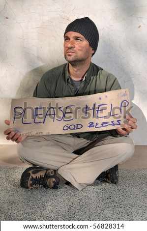 Homeless begging for help - a series of HOMELESS images. - stock photo