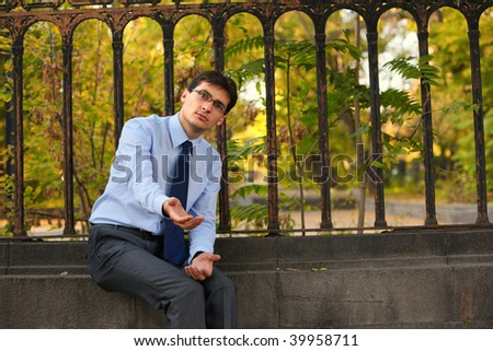 Homeless businessman - Bankruptcy concept - stock photo