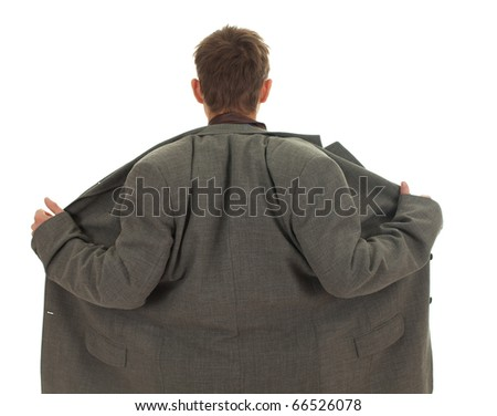 homeless businessman in grey, oversized suit on white background