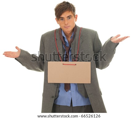 homeless businessman in grey, oversized suit with blank card