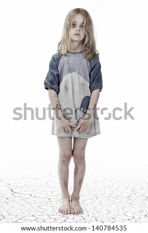 homeless child - stock photo