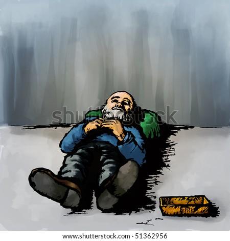 Homeless, digital painting - stock photo