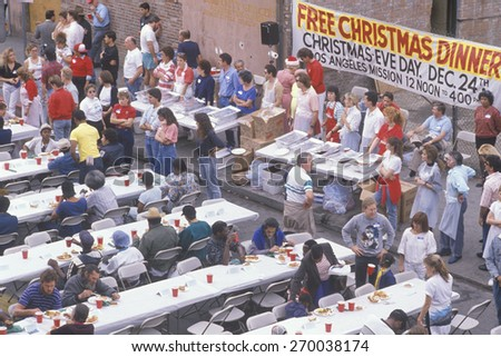 Homeless eating christmas dinners los angeles stock photo for Los angeles homeless shelter