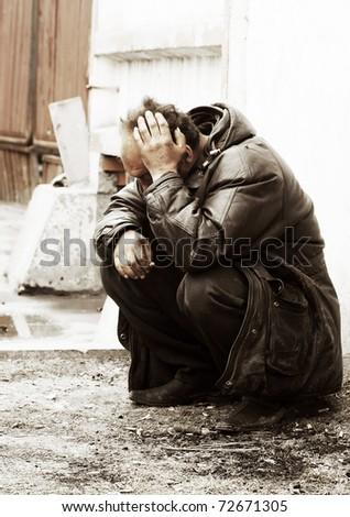 Homeless in depression - stock photo