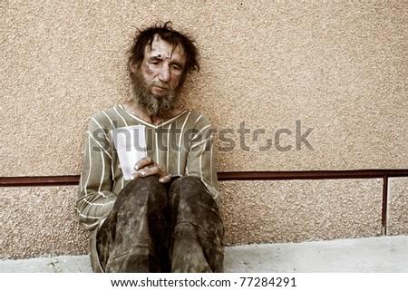 Homeless in despair - stock photo