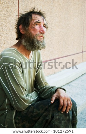 Homeless man - stock photo