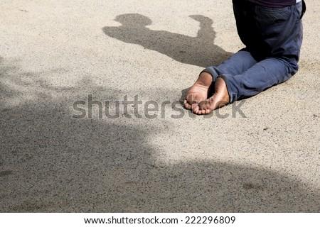 Homeless man asking for money  - stock photo