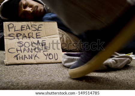 Homeless Man Sleeping Rough. Social issues concept - stock photo