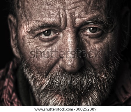 Homeless old man - stock photo