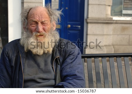 Homeless Old Man in Closeup - stock photo