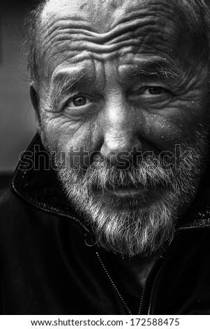 Homeless old man portrait