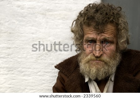 homeless person with empty space for text - stock photo