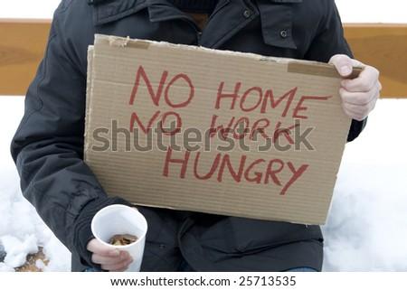 Homeless, unemployed, hungry - stock photo