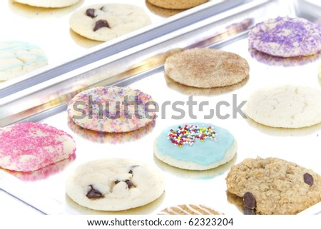 homemade allergen free cookies on two cookie sheets - stock photo